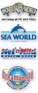 Sea World, Dream World, Movie World, Wet 'n' Wild, Currumbin Wildlife Sanctuary,  Aust Outback Spectacular